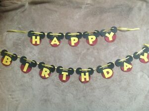 disney mickey mouse happy birthday banner can be personalized with