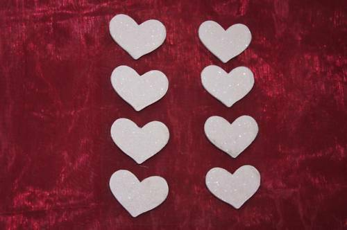 Glimmer weiß Herz Herzen Kartengestaltung Tischdeko Hochzeit Kommunion 8St