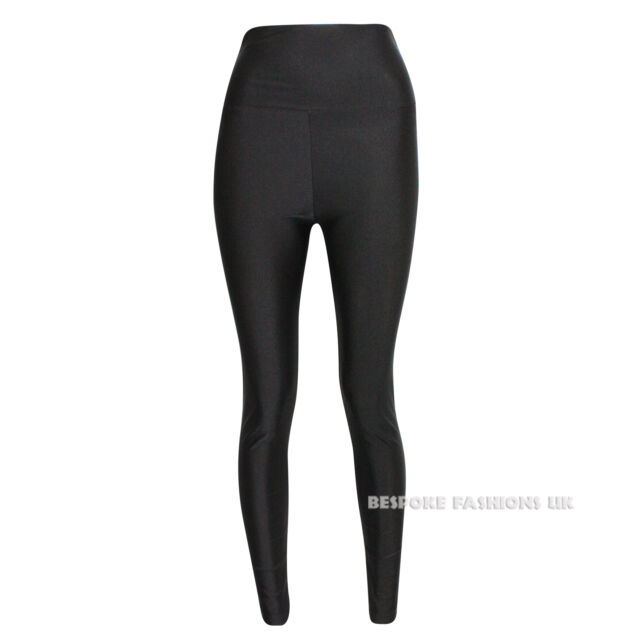 Womens Ladies American High Waisted Disco Shiny Wet Look Leggings PVC Pants 6-14