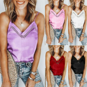 Womens-Girl-Sleeveless-V-Neck-Solid-Cami-Tank-Tops-Casual-Loose-Shirts-Blouse-AU
