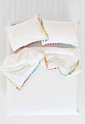 Urban Outfitters Uo Magical Thinking Pom White Duvet Cover Twin Xl 66 X 90 Multi Ebay
