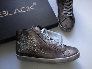 NEU BLACK  Boot′s  Sneaker echt LEDER silber im  used Look Gre 41