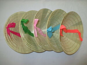 Lot of 5 small 'NON LA' Palm- leaf conical hat for Children - Handmade Vietnam