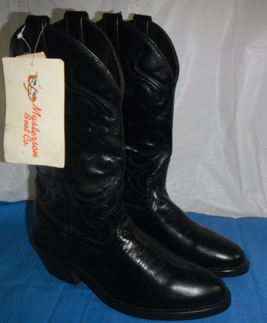 MEN`S MASTERSON BOOT CO. BLACK BOOTS GENUINE LEATHER, 7D, NWT