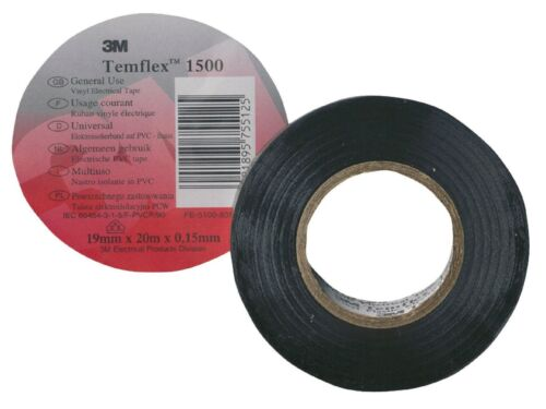 3M 1x TemFlex aislamiento//Aislamiento//Electrical Tape 15mm X 10m Negro