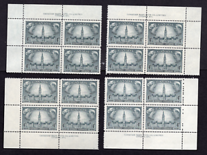 Canada #277 4 Cent Responsible Government Issue Matched Set of Plate Blocks MNH