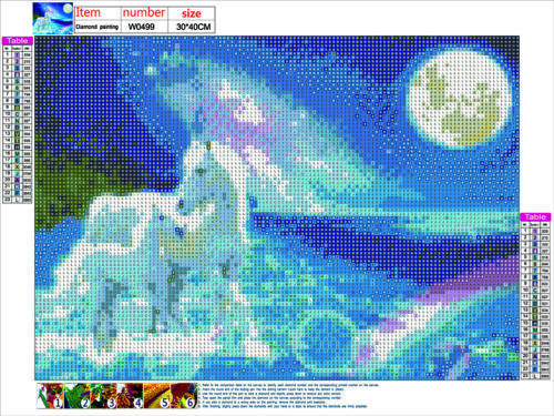 Full Drill DIY 5D Diamond Painting White Horse Embroidery Cross Stitch Art kits