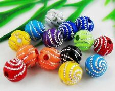 12Color 100pcs Mixed Acrylic Round Curly Round Ball Loose Spacer Beads 8mm