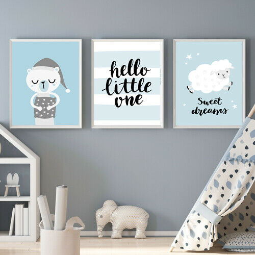 Nursery Prints Oh Baby Set of 3 Neutral//Unisex Wall Art Prints