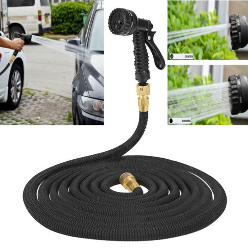25 50 75 100 FT Expandable Garden Water Hose Pipe Spray Gun Nozzle Car Wash Kits