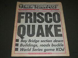 1989 OCTOBER 18 NEW YORK POST NEWSPAPER - FRISCO QUAKE - NP 2354