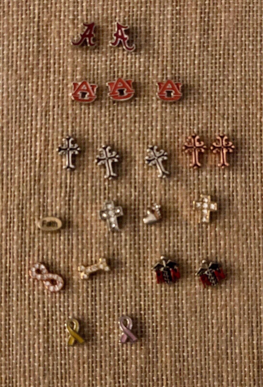 ORIGAMI OWL 20 BN CHARMS; CROSS, ALABAMA, AUBURN, CAUSES  4 Each OR ALL  60