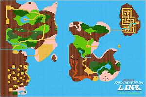 Details about Canvas Print Nintendo Zelda II Adventure of Link NES Map  24x36 Giclee Poster