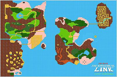 Nintendo Zelda II Adventure of Link NES Map 24x36 Video Game Giclee Poster  | eBay