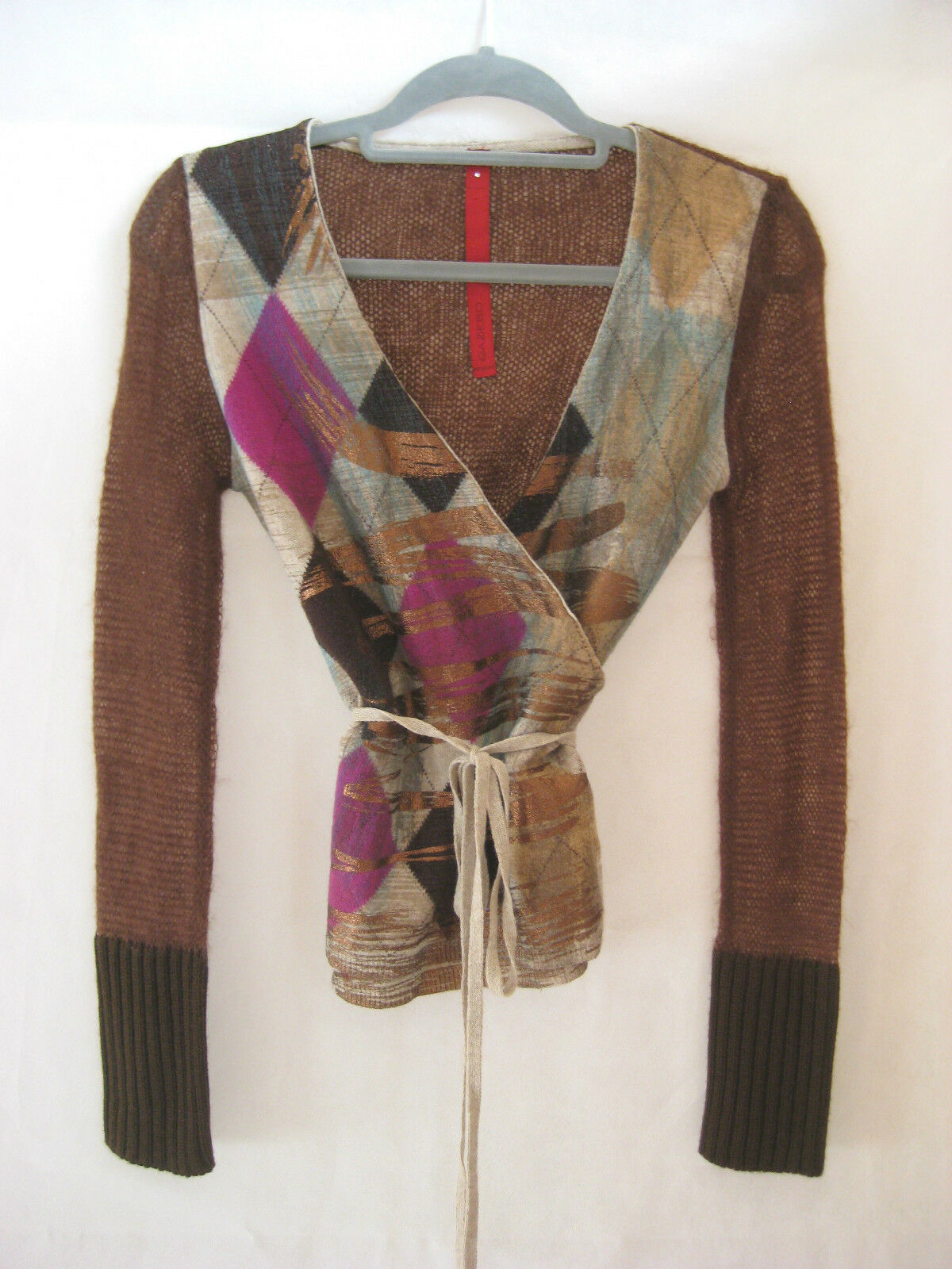 GAZEBO Cinnamon Winter Knit with Harlequin Check Print Wrap Top Taille petit (8)