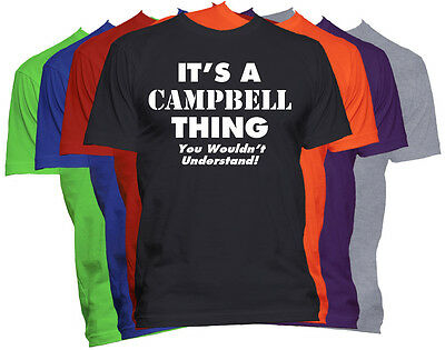 Men/'s CAMPBELL Family Name T-Shirt Surname Team  ADD ANY NAME CAN BE AMENDED