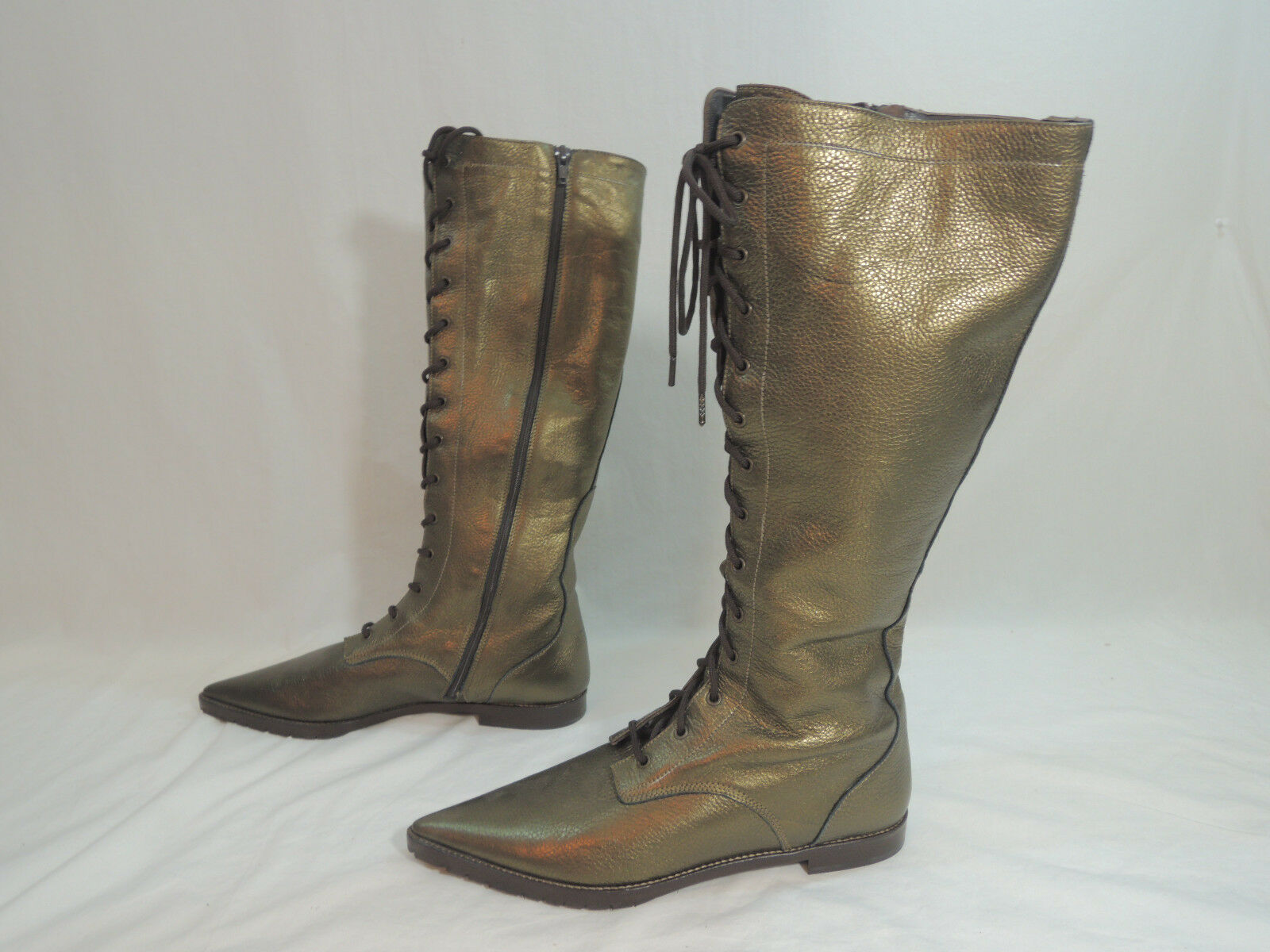 Charles Nolan Lisa Style Pointy Toe Leather Boots Size US 9.5-10 BRONZE