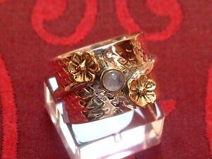 Designer-Ring-Mondstein-amp-Blueten-Sterling-Silber-925-Cabochon-Schliff-TOP