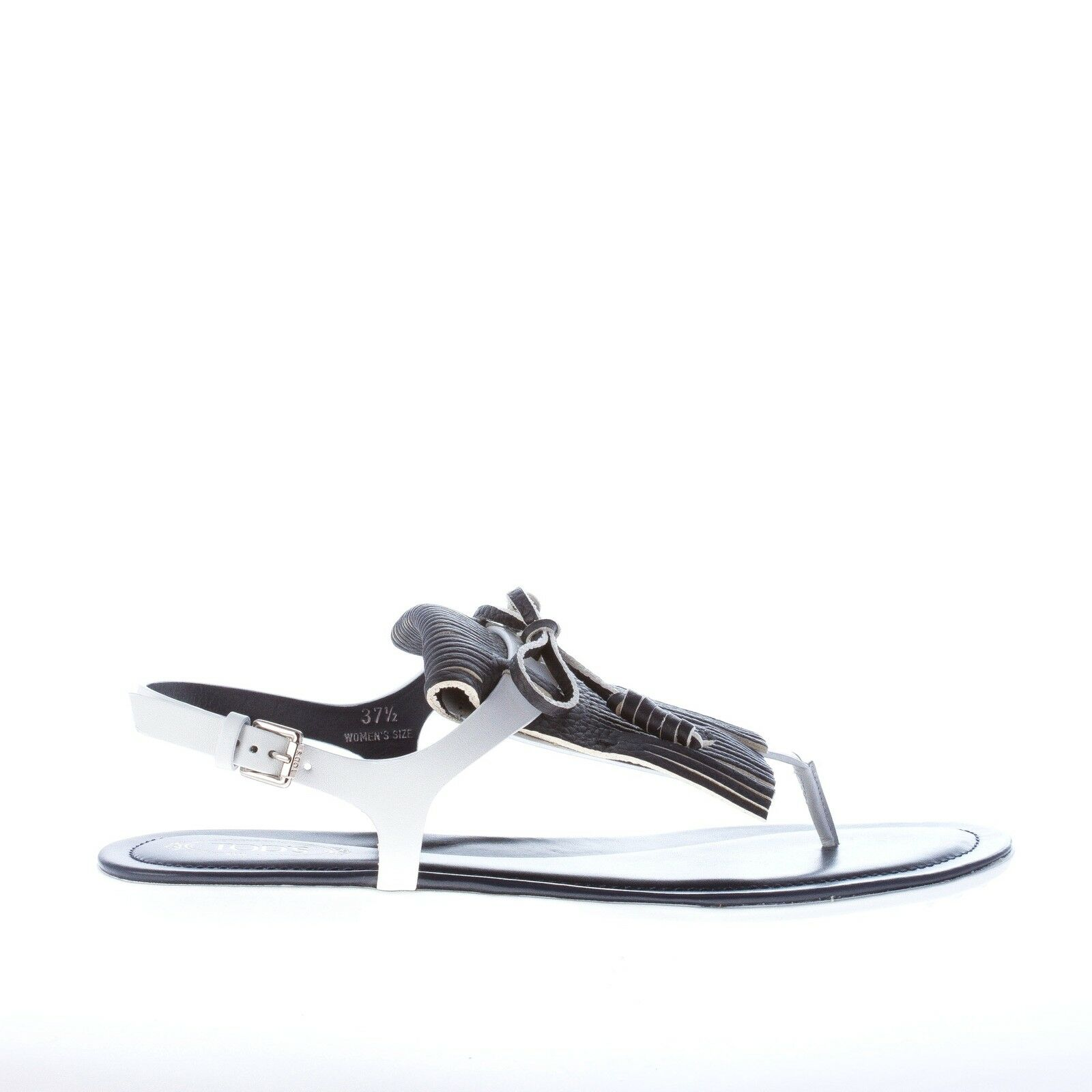 TOD'S women shoes bluee navy leather thong sandal with wide fringe and bow detail