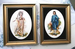 Magnificent-Staffordshire-Harleigh-Tiles-Pinky-and-Blue-Boy-Framed-1971-England