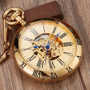 Mens Pocket Watch Copper Self-Winding Mechanical Gold Case Hunter Luxury Chain