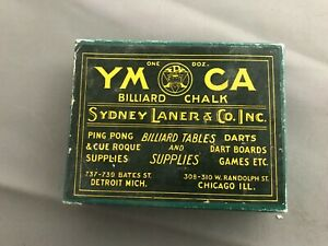 Antique 1900s Billiard YMCA chalk w// original box unused  pool