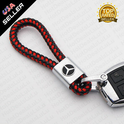 Red Calf Leather Alloy Buick Logo Emblem Keychain Decoration Gift Accessories