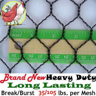 "Poultry Netting 12.5/' x 200/' 1/"" Light Knitted Aviary Bird Net 8-10 Year Lifespan"
