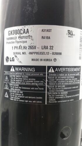 LG ELECTRONICS GK080CAA 9000 BTU ROTARY COMPRESSOR 265V//60//1 R-410A A31AST