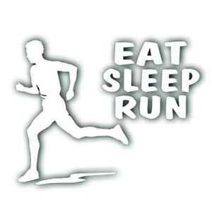 Eat Sleep Run Boy Man Decal Pour Marathon Runner, Jogging Autocollant Blanc-afficher Le Titre D'origine