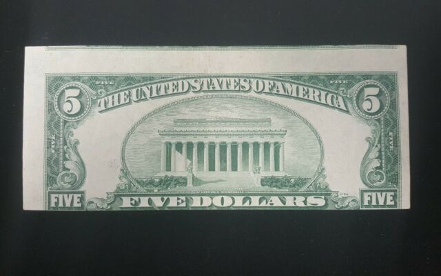 1950B Five Dollar Faulty Alignment Error Federal Reserve Note VF