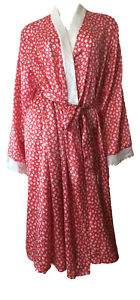 Red Cream Floral Pattern Long Length Satin Dressing Gown Robe S//M L//XL