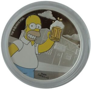 2019 Tuvalu $1 The Simpsons Homer 1oz Silver Proof Coloured Coin