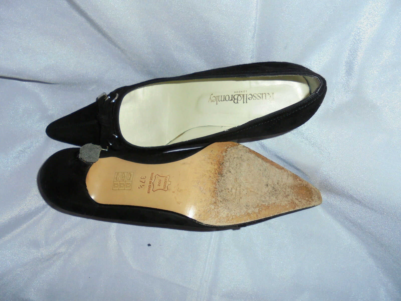RUSSELL & BROMLEY WOMEN'S BLACK SUEDE LEATHER SLIP ON SHOE 37.5 SZ UK 4.5 EU 37.5 SHOE VGC 73b65a