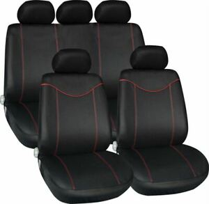 BLACK-RED-CAR-SEAT-COVERS-FOR-AUDI-A2-FORD-FIESTA-KA