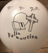 "Feliz Bautizo/Baptism Spanish White Latex 12"" Balloons For Party Supplies"