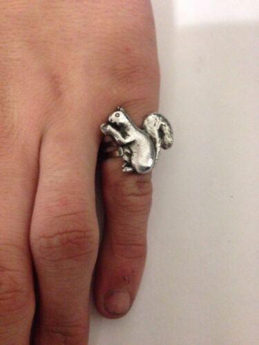 Squirrel R184 English Pewter Ring Adjustable Handmade in Sheffield