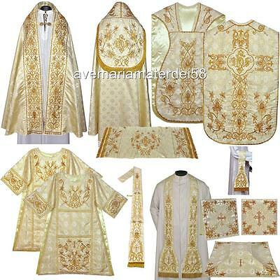 Gold Solemn High Mass Vestment Set Fiddleback Chasuble,Dalmatic,Tunicle,Stole