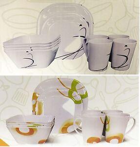 16-Piece-C&ing-Caravan-Picnic-Plates-Cups-Bowls- & 16 Piece Camping Caravan Picnic Plates Cups Bowls Melamine Plastic ...