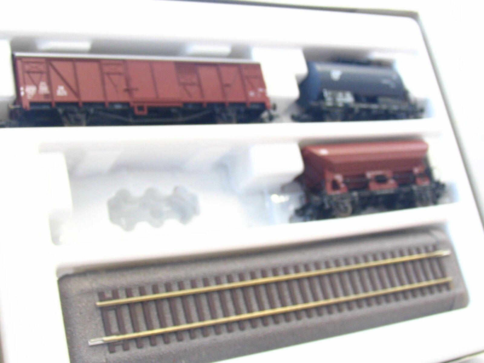 Roco H0 44054 Güterwagen Set m. Gleisen 3teilig DB OVP (MR8402)