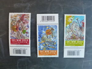 2013-AUSTRIA-PAINTINGS-SKI-WORLD-CHAMPIONSHIPS-SET-3-MINT-STAMPS-MNH