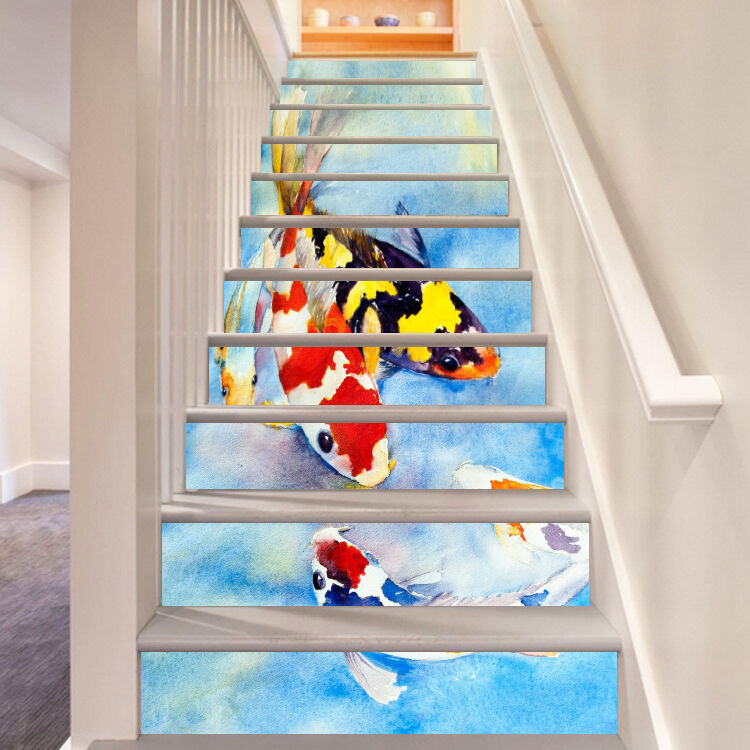 3D Spotted Fish 52 Stair Risers Decoration Photo Mural Vinyl Decal Wallpaper AU