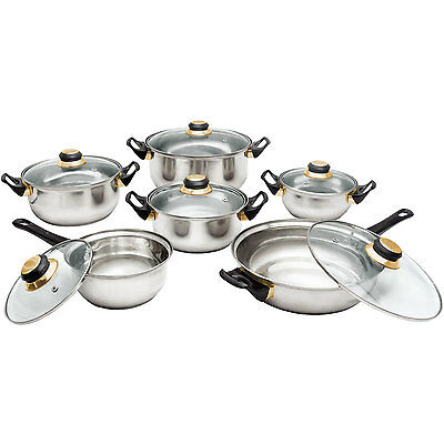 12 Stainless Steel Cookware Saucepan Pan Pot Frying Frypan Cooking Glass Lid Set