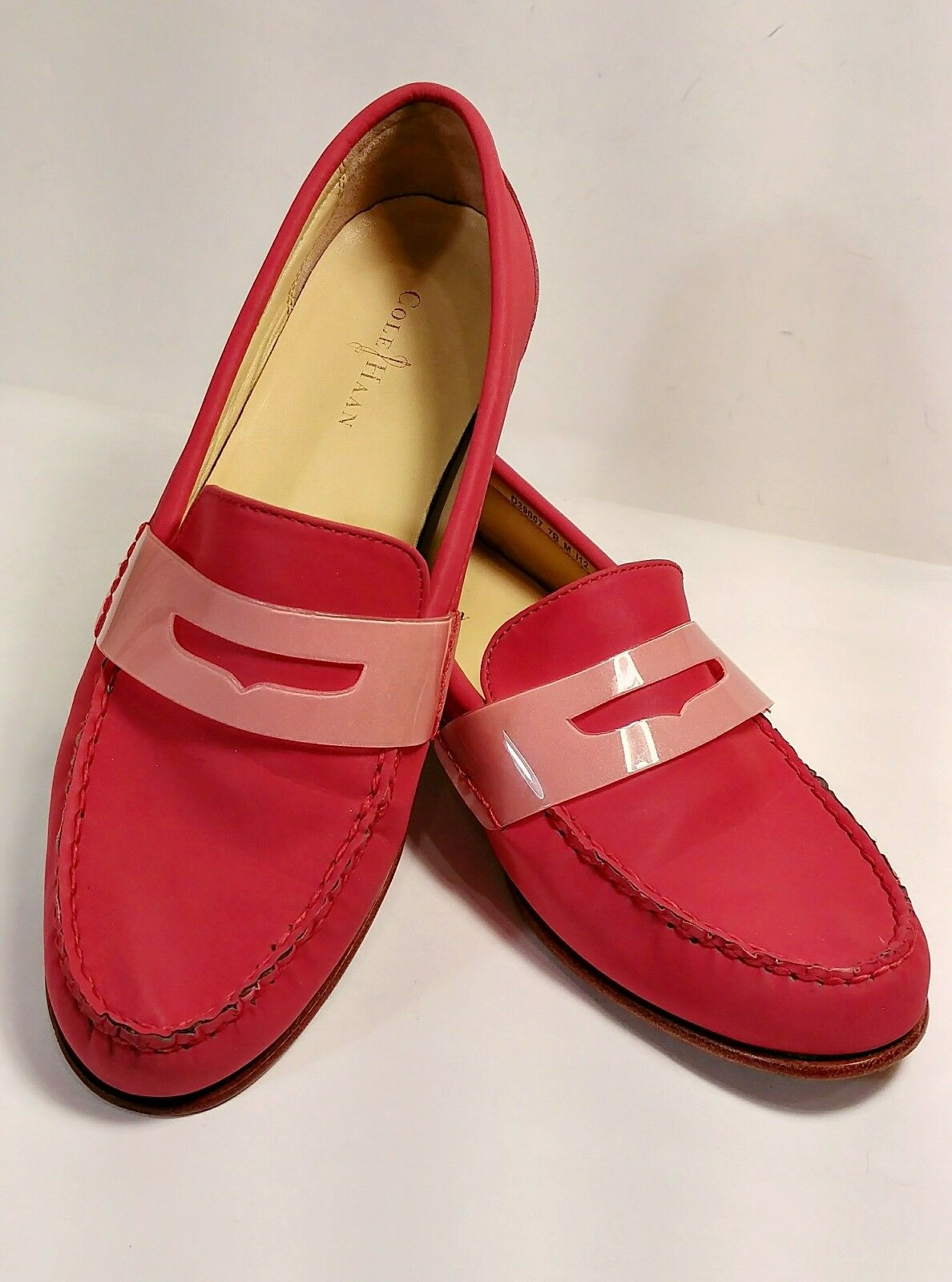 Cole Haan Air Monroe Red Reflective Slip-On Penny Loafers Women's Size 7M *EUC*
