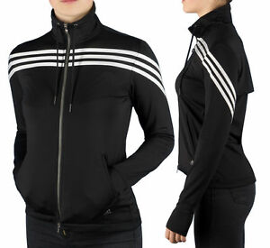 Details zu Adidas Q3 Women's Full Zip Training Jacket Track Jacket Climacool Black XXS XS