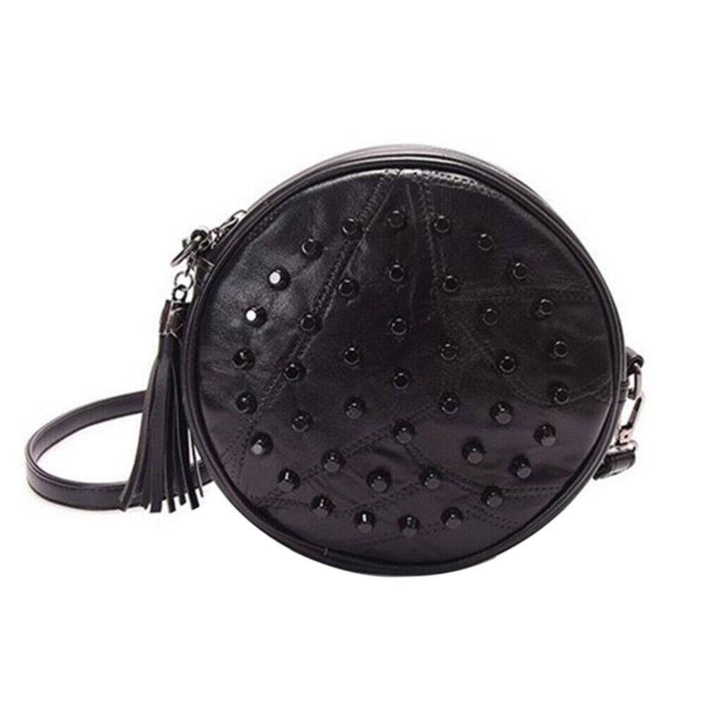 1pc Women's Purse Bulge Rivet Round Black Leather Casual Bag Handbag for Ladies