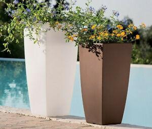 Grand pot de fleurs carre haut en r sine moderne cache pot - Grand pot de jardin pas cher ...