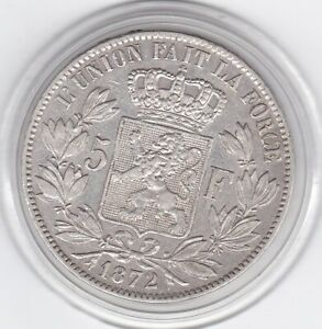 Belgium-1872-King-Leopold-II-Large-5-Franc-Silver-90-Coin