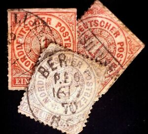 CatalinaStamps: No. German Confederation Stamp #4, 16-17 Used Lot of 3,  #A137