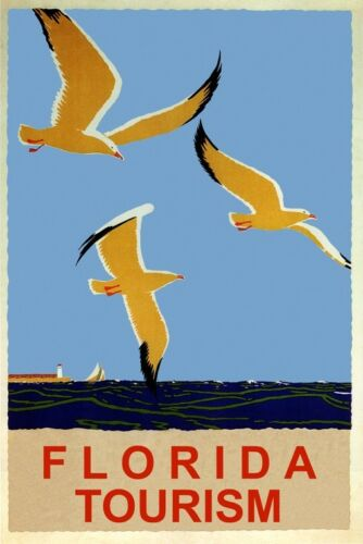 FLORIDA OCEAN SEA GULL BIRD SAILBOAT BEACH TRAVEL TOURISM VINTAGE POSTER REPRO